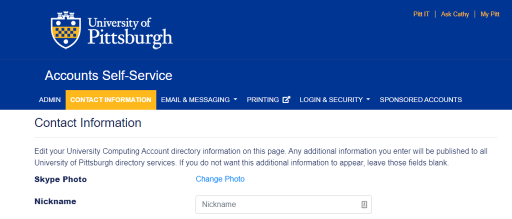 Image of landing page of accounts.pitt.edu self service with contact information text fields.