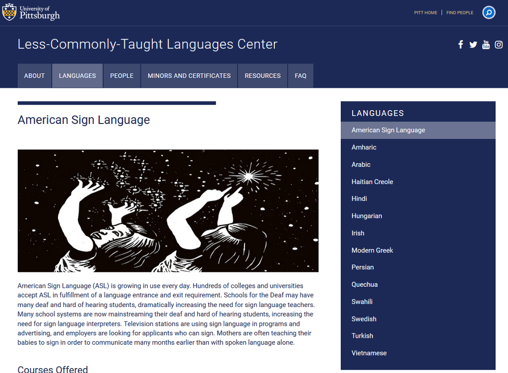 A screen shot showing the American Sign Language (ASL) language page. A picture shows two young people reaching up and touching stars in the sky