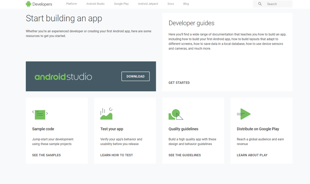 Android app development resources screen shot.