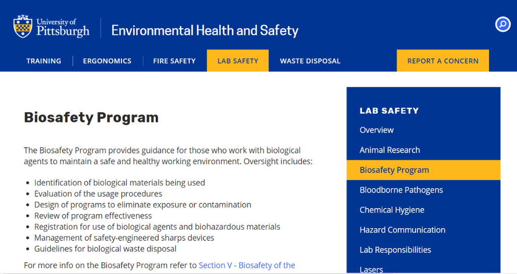 Image of information for the Bio-safety Program