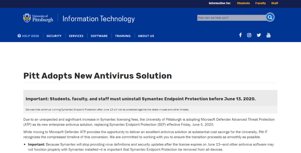 Screen shot of Technology Page with Antivirus information about the replacement of Symantec with Microsoft Windows Advanced Threat Protection (ATP).