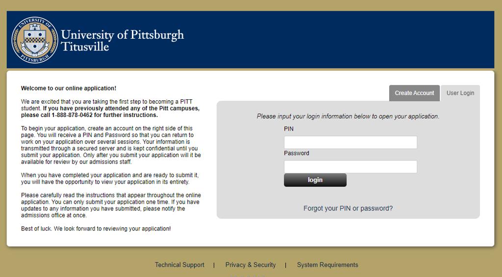 Titusville campus application portal login page.