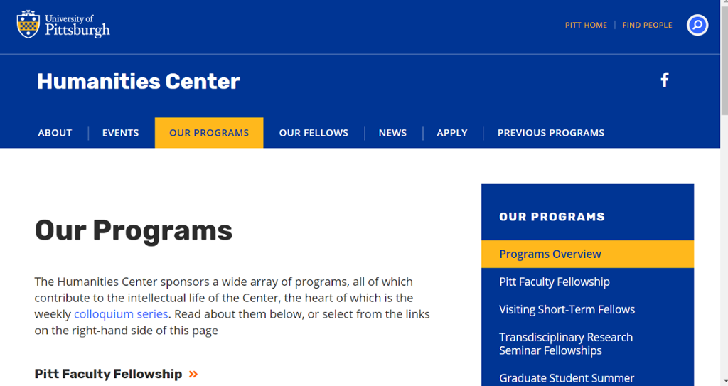 Image of information on Grant and Fellowship Programs
