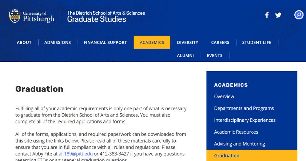 Image of information on Graduate studies