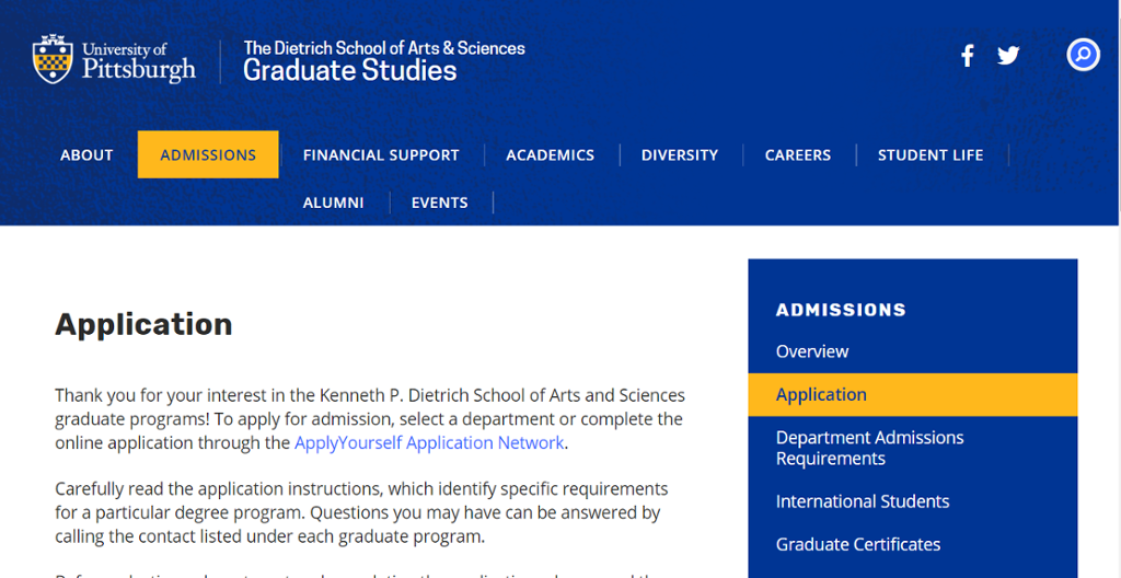Image of application to graduate programs