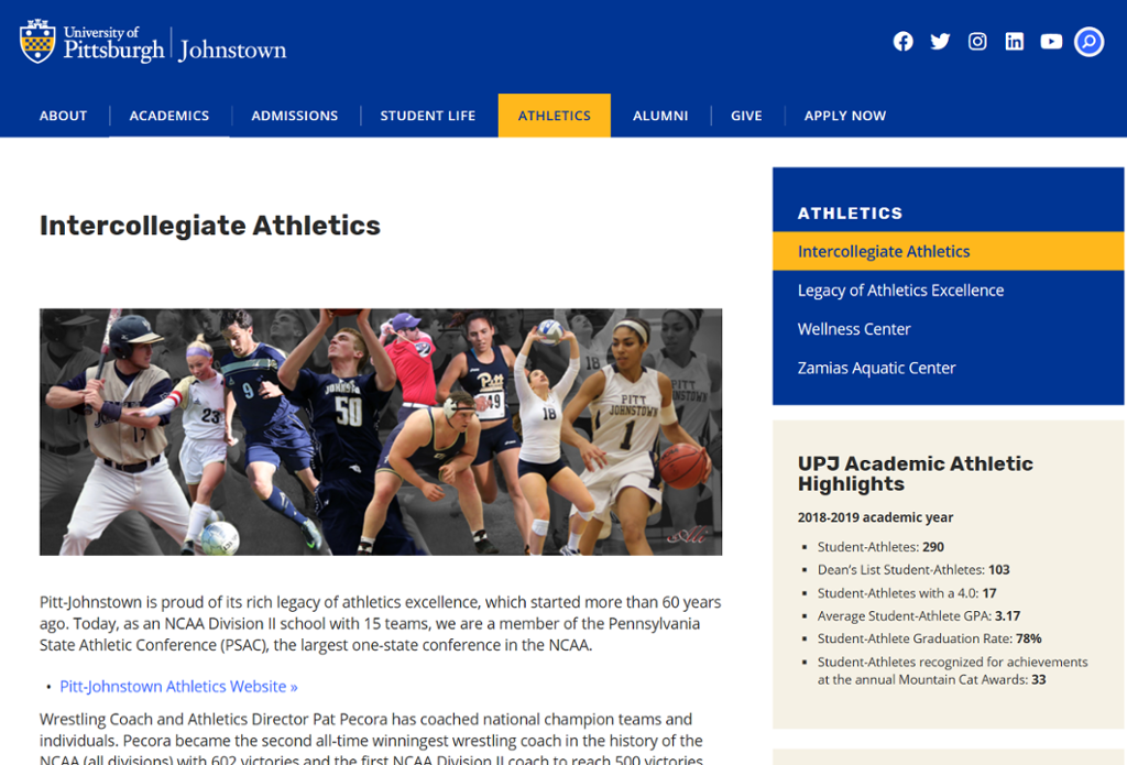 Screenshot of Johnstown Athletics page with collage of athletes