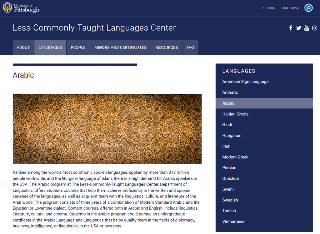 A screen shot showing the Arabic language page. A picture shows a traditional design pattern
