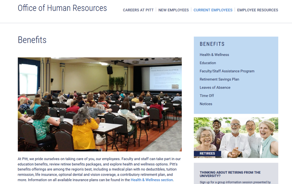 ohr website benefits page screenshot