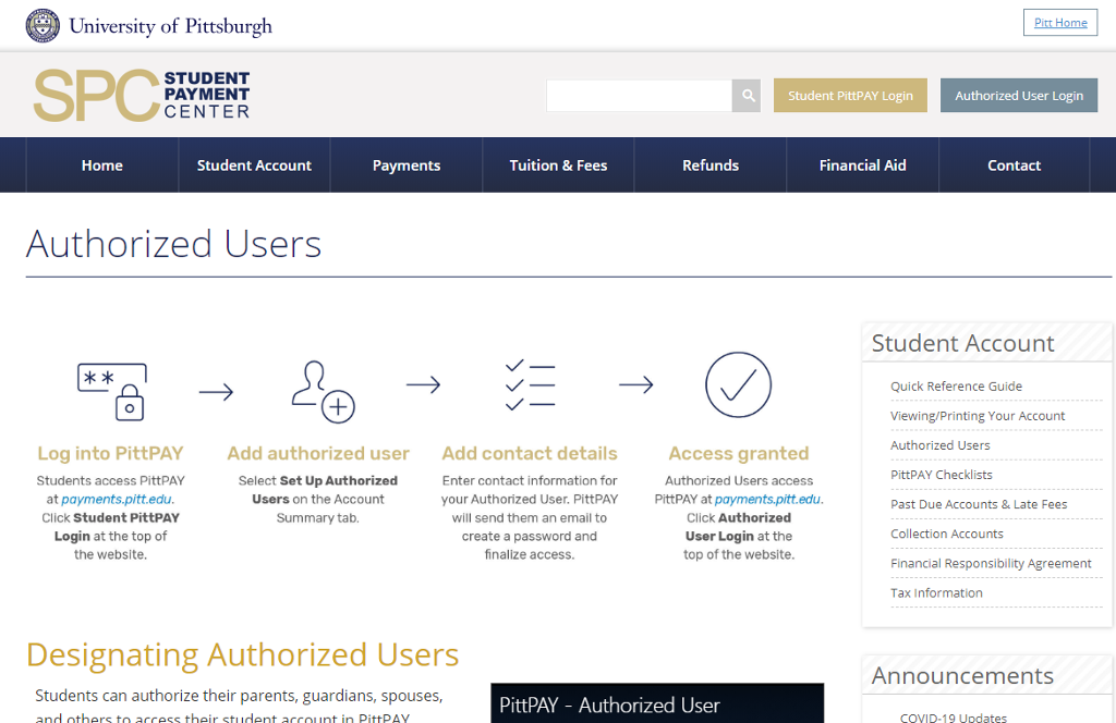 Screen shot of Authorized Users page with text and icons.
