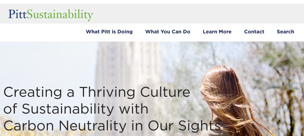 Pitt Sustainabliity's homepage displayed with main menu options: what pitt is doing, what you can do, learn more, contact, search