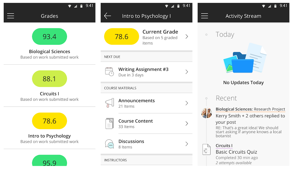 Blackboard Student App Screen Shot