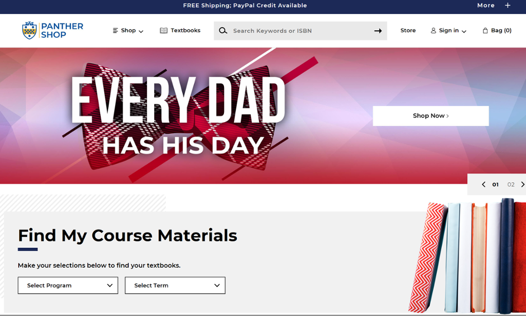 """Screenshot of Titusville Book Center page with a picture of a bowtie and """"Every Dad has his Day"""" overlapping it"""
