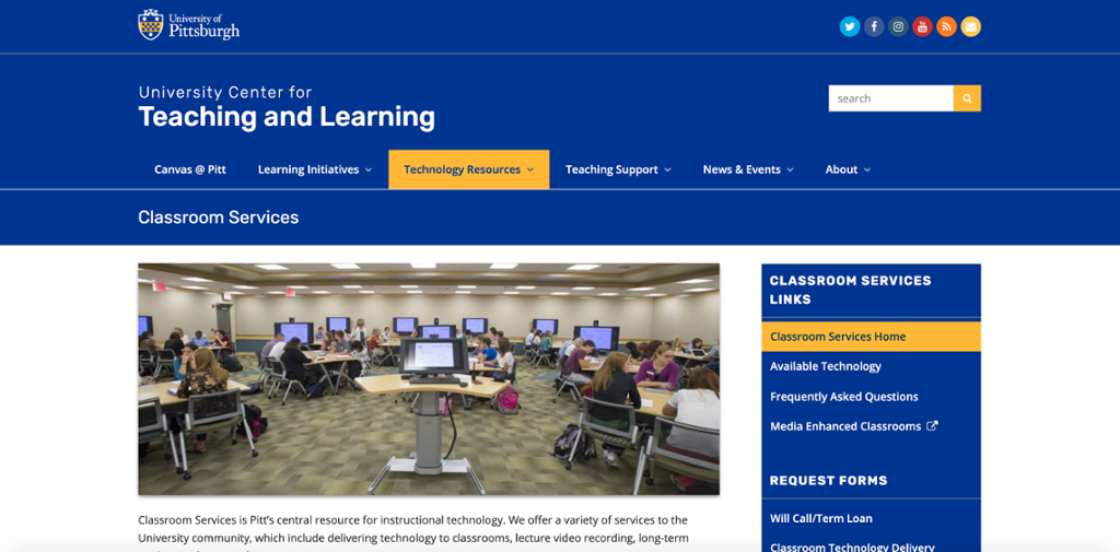 Classroom Services web page