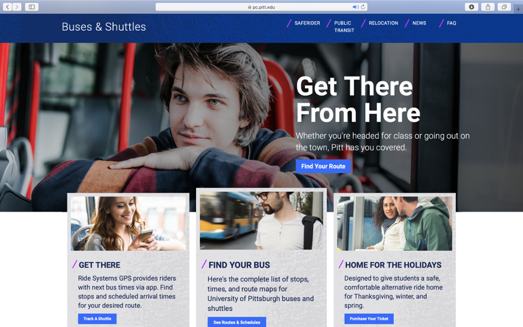 Screenshot of Panther Central's Buses and Shuttles landing page.