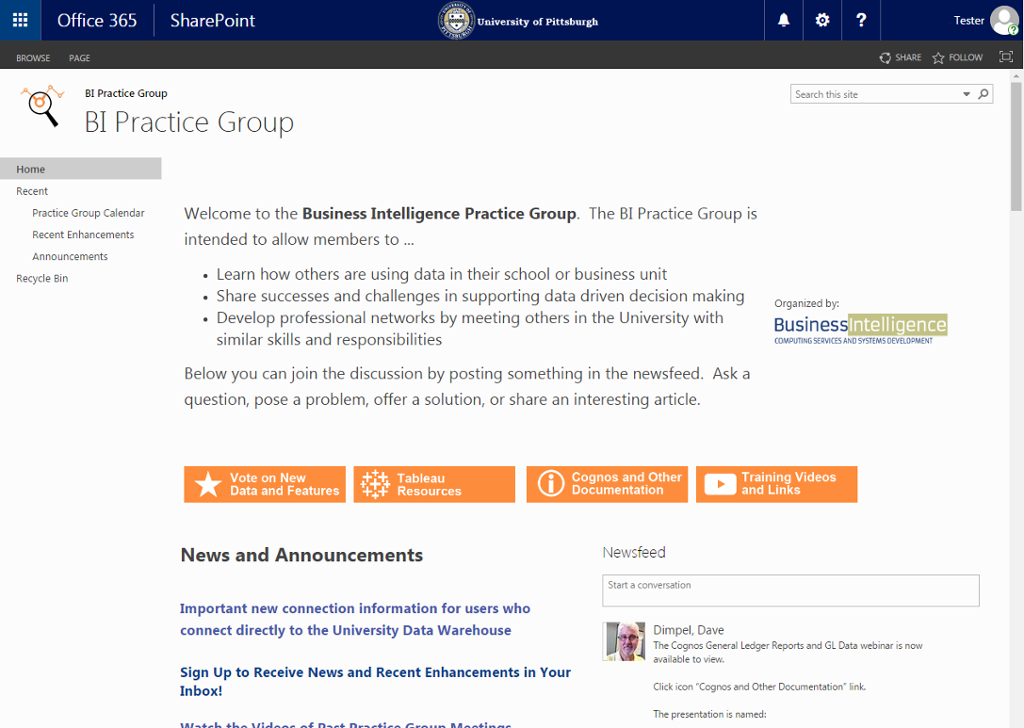 Business Intelligence Practice Group