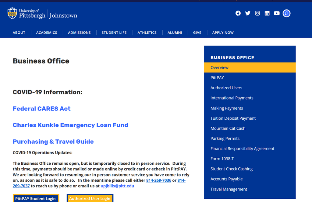 Screenshot of Johnstown Business Office page