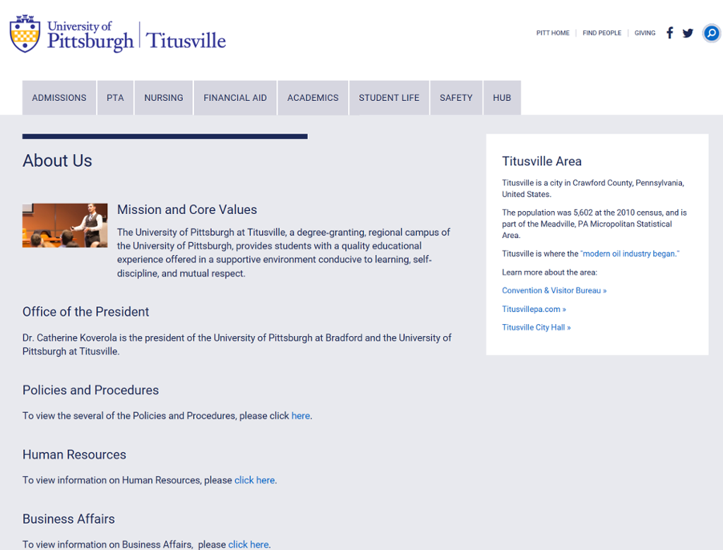 Screenshot of Titusville Campus Conference Center page