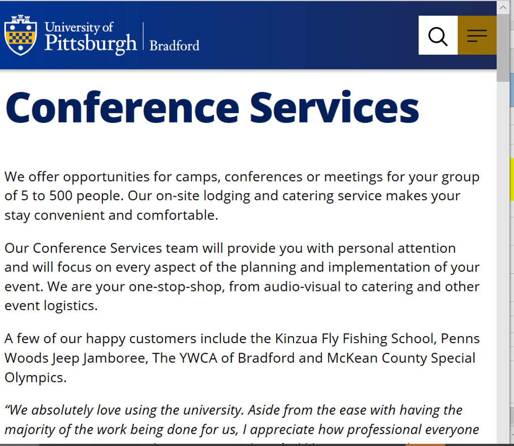 Screenshot of Bradford Campus Conference Services page