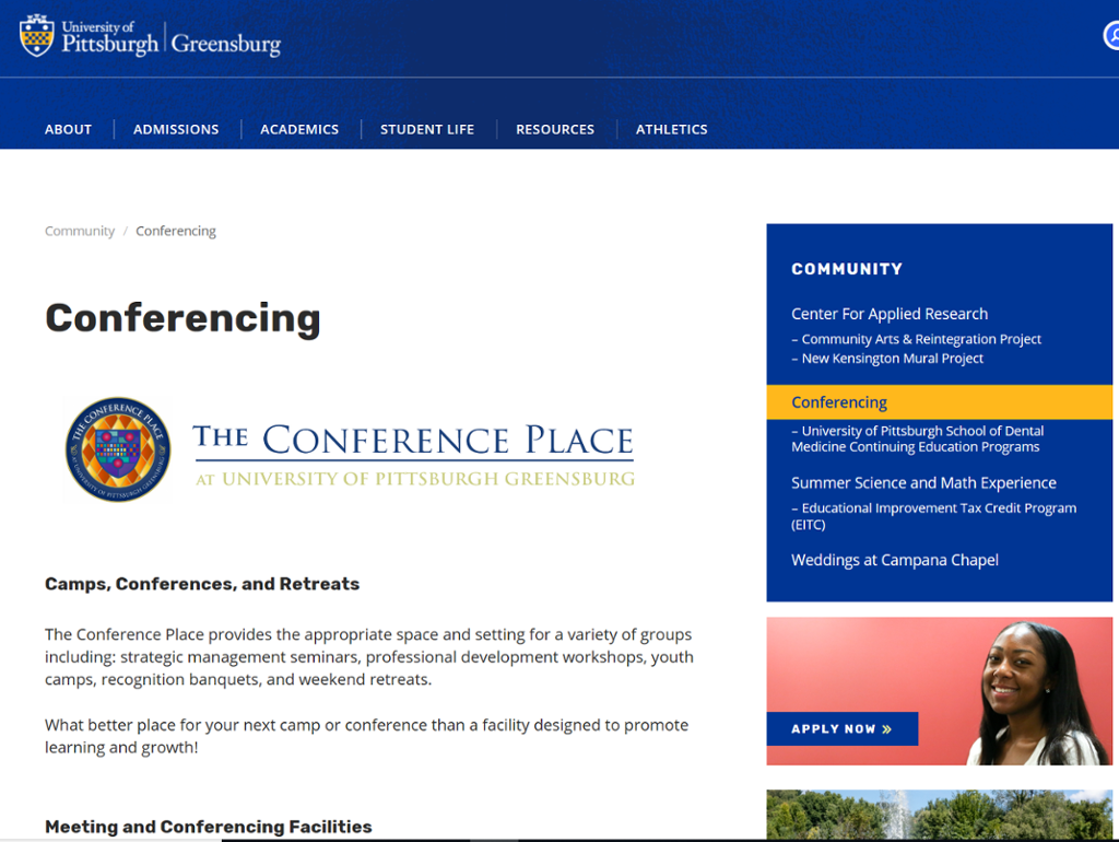Screenshot of Greensburg Campus Conferencing Services page