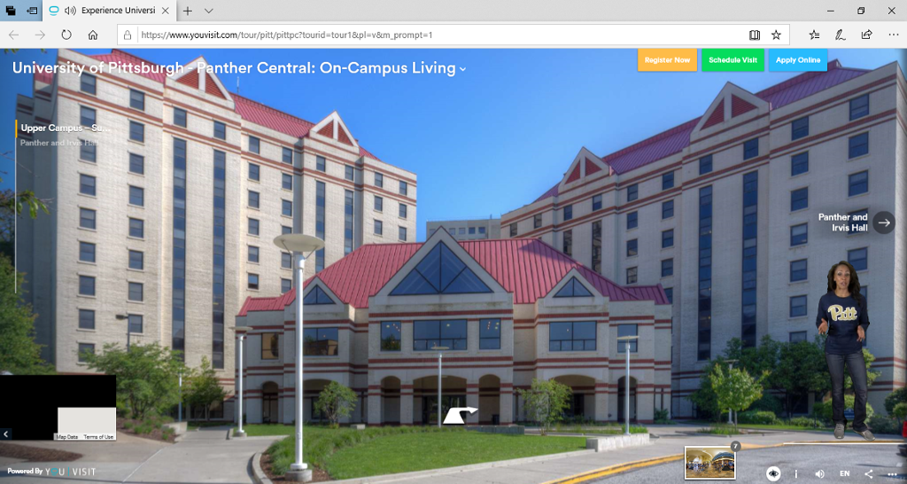 Screenshot of the virtual tour homepage for on-campus living.
