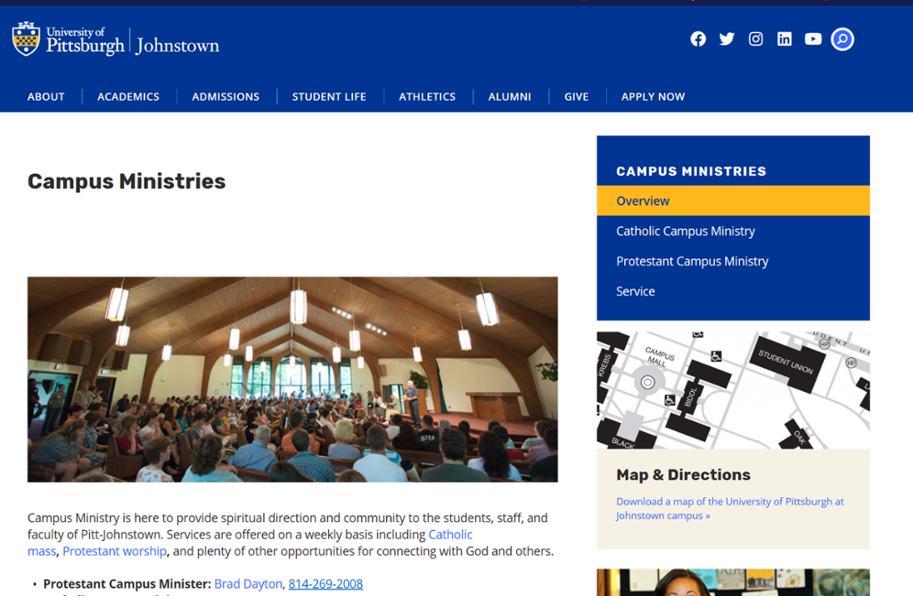 Screenshot of Johnstown Campus Ministries page with a picture of a church service