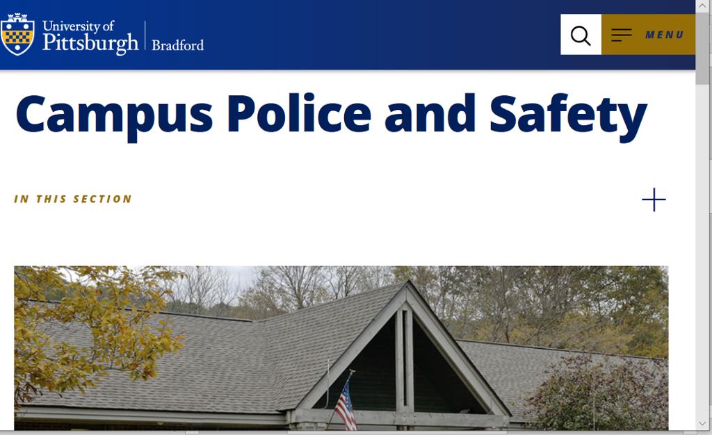 Screenshot of Bradford Campus Police page