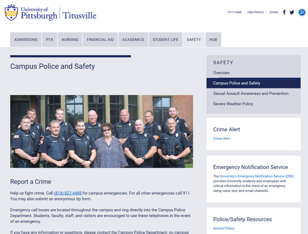 Screenshot of Campus Police Page with photograph of campus police officers