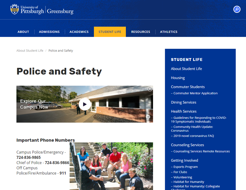 Campus Police web site with an intro video and image of police officers interacting with students.