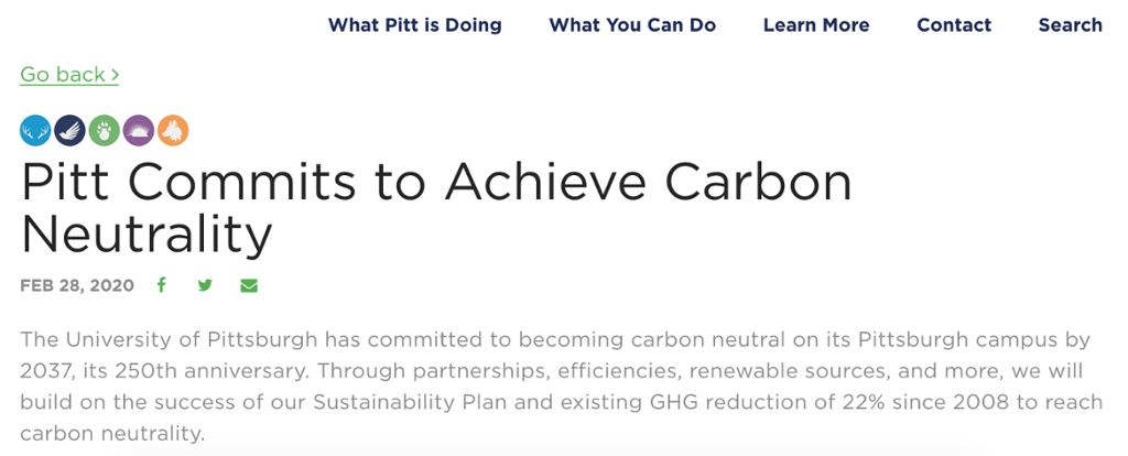 An article on Pitt Sustainability's summarizing Pitt's commitment to carbon neutrality by 2037