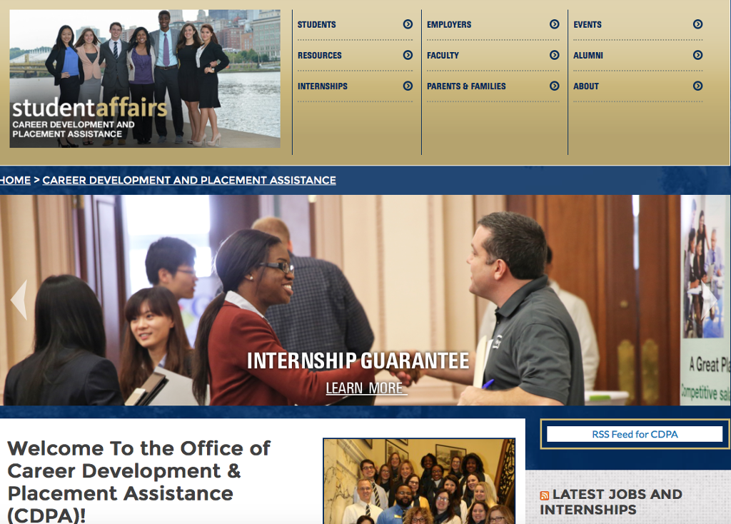 Career Development and Placement Assistance Landing Page