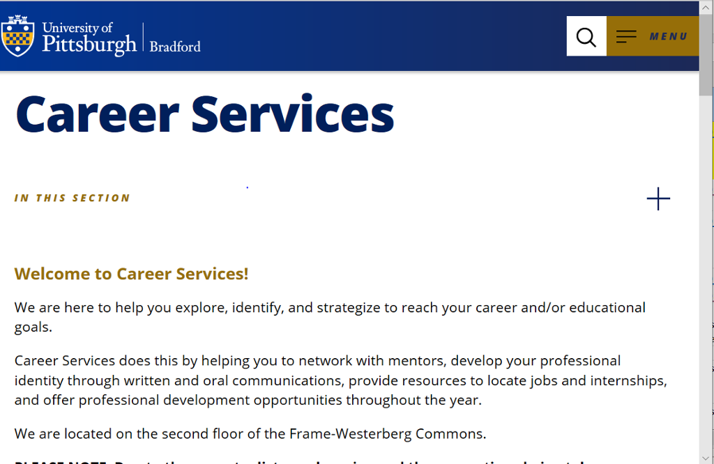 Screenshot of Bradford Career Services page