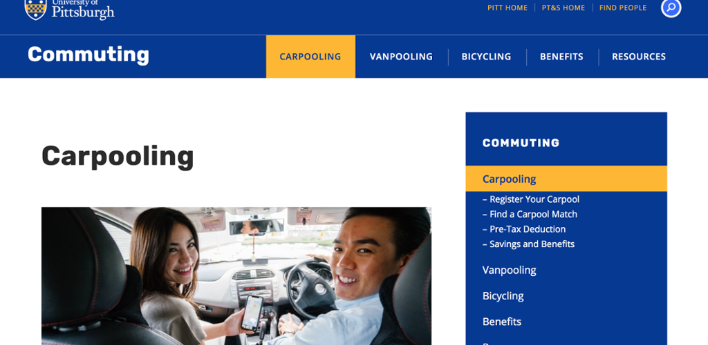 Pitt's commuting homepage. Commuting information is highlighted