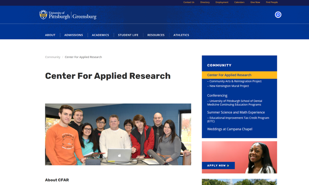 Screenshot of Greensburg Center for Applied Research page with picture of students