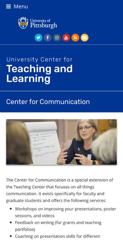 Center for Communication web page