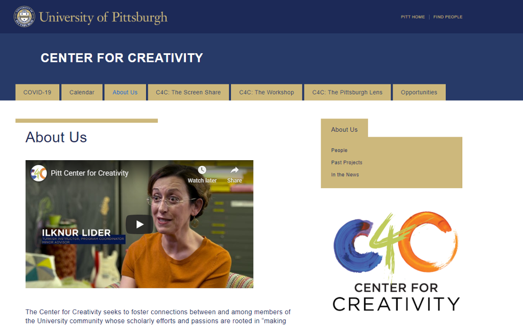 Center for Creativity web site with an image of the centers logo and a link to a promotional video about the center.