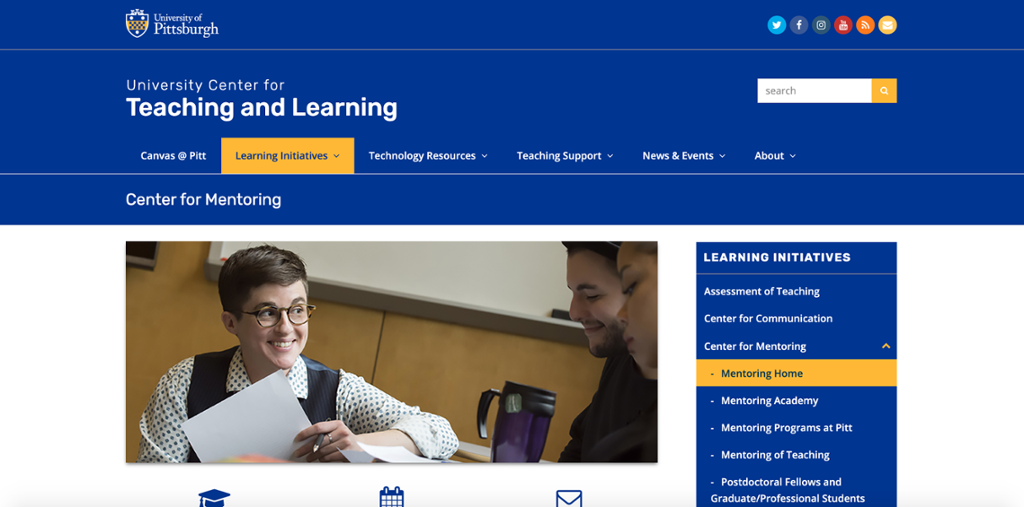 Center for Mentoring web page