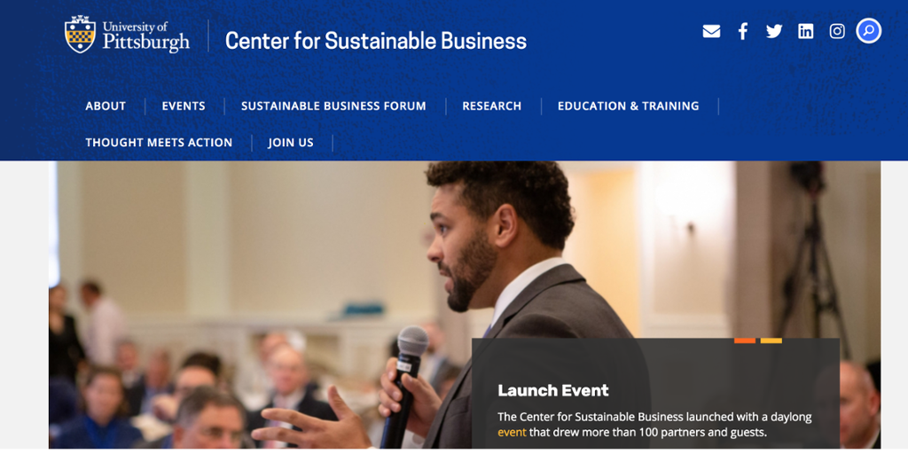 Homepage for Center for Sustainable Business dispalayed with menu options, social media links, and news