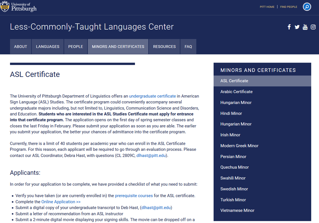 Webpage for information about the American Sign Language (ASL) certificate at the University of Pittsburgh
