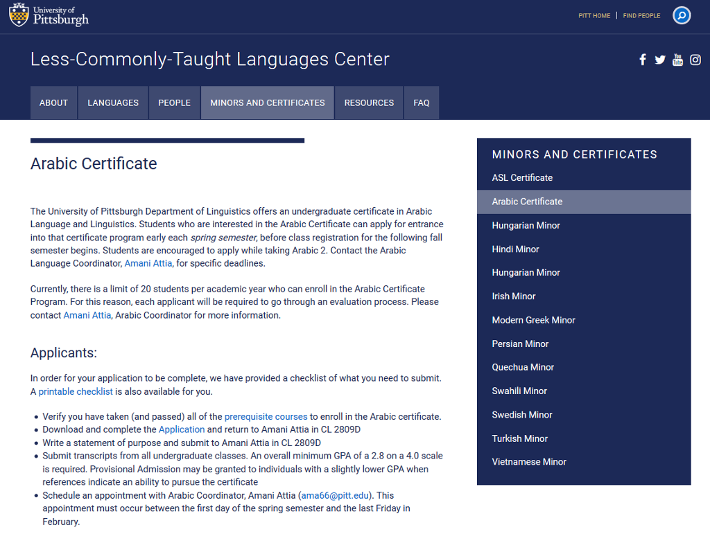 Webpage for information about the Arabic certificate at the University of Pittsburgh