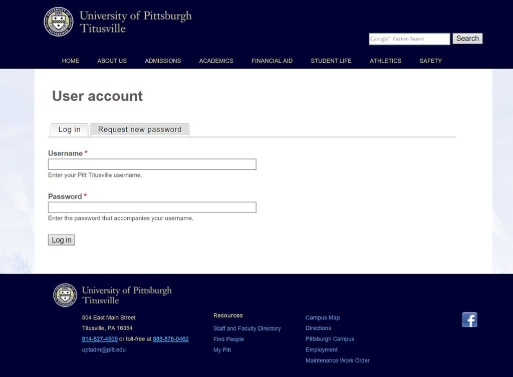 Screenshot of Titusville Class Cancellation Login Page