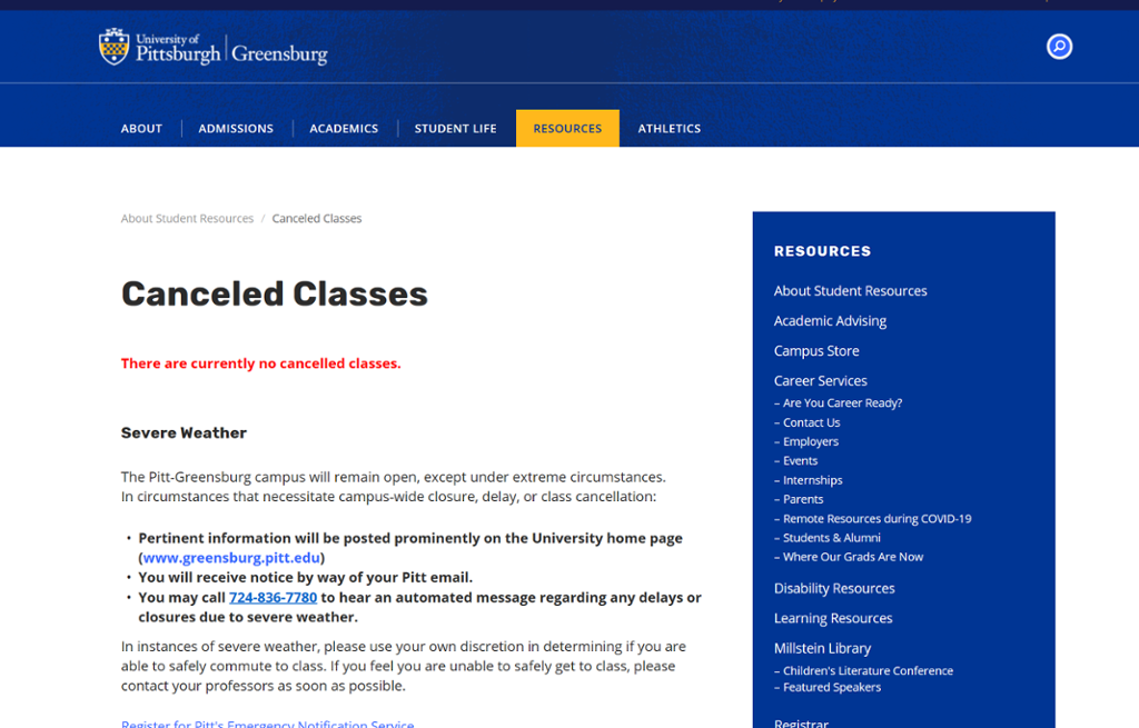 Screenshot of Greensburg Class Cancellations page