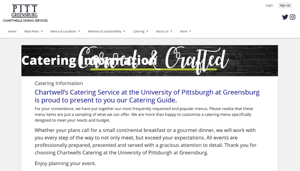 Screenshot of Greensburg Chartwells Catering page