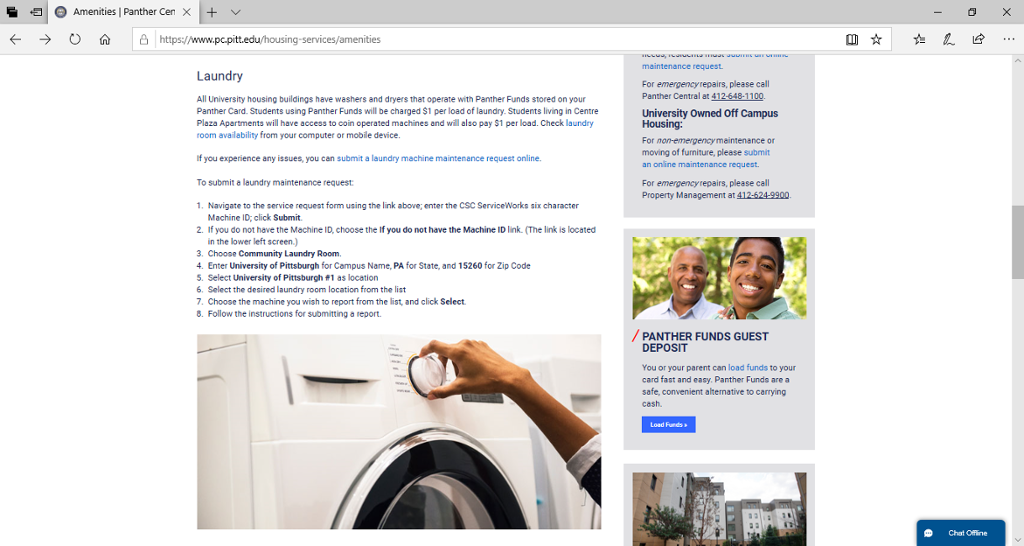 Screenshot of Panther Central's Housing Amenities page, which includes laundry information.