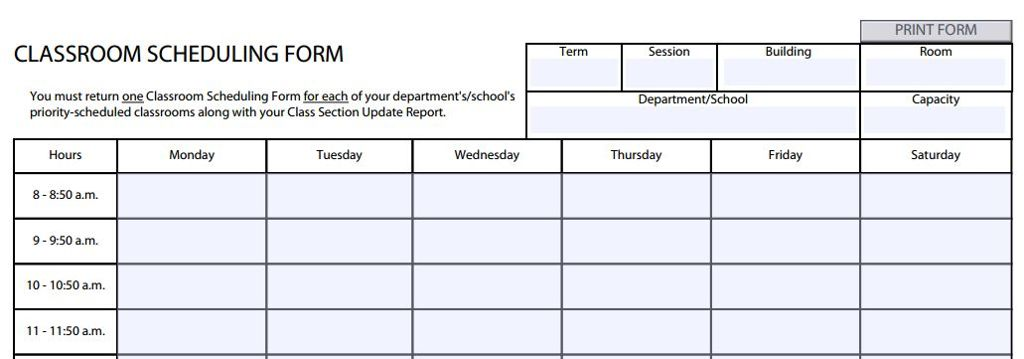 Classroom Scheduling Form