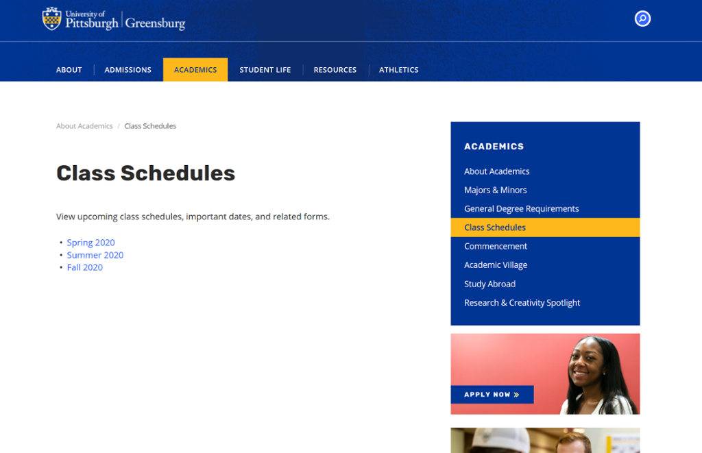 Screenshot of Greensburg Class Schedules page