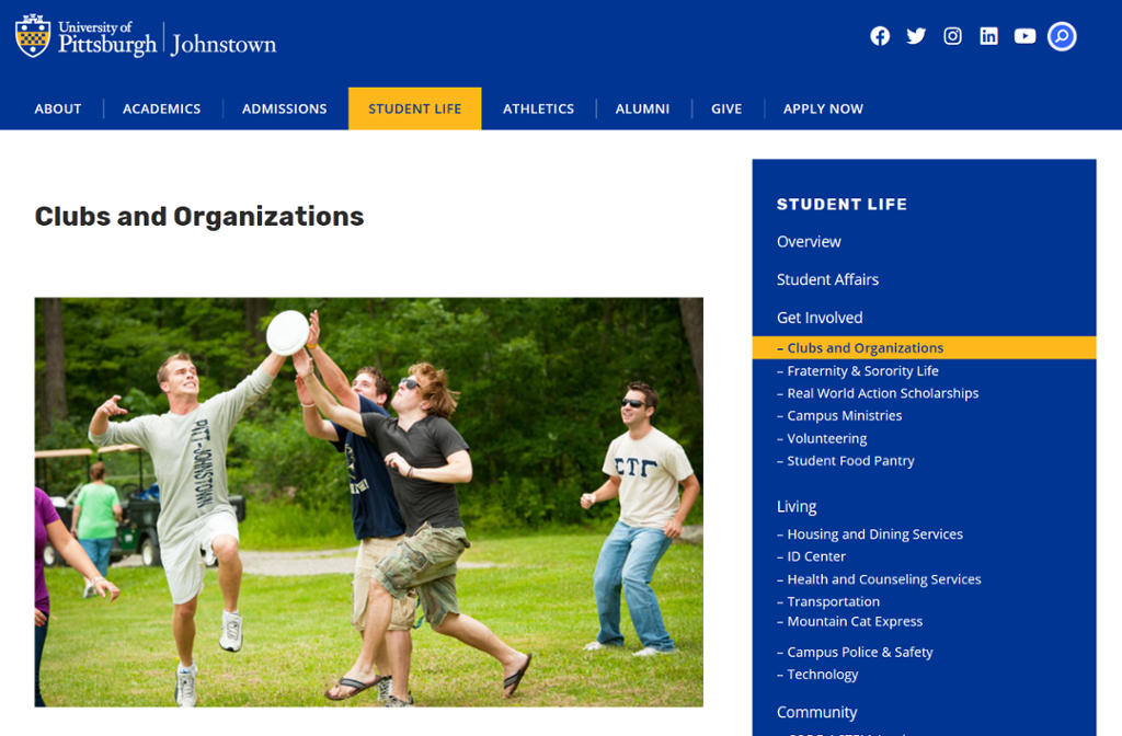 Screenshot of Johnstown Clubs and Organizations page with a picture of people playing frisbee