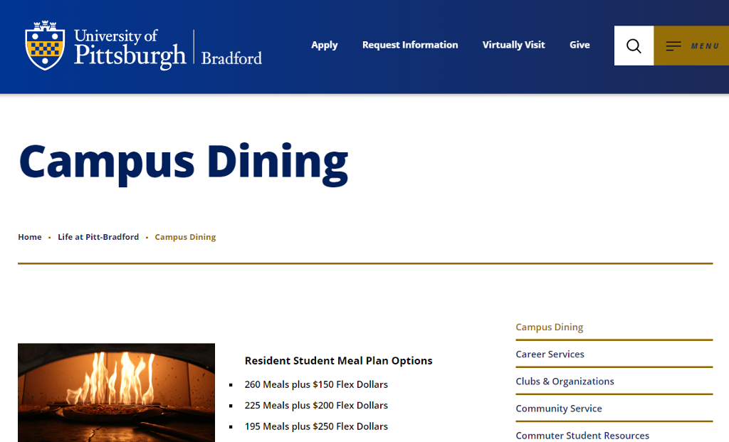 Bradford Campus Dining page with picture of wood fire pizza grill.