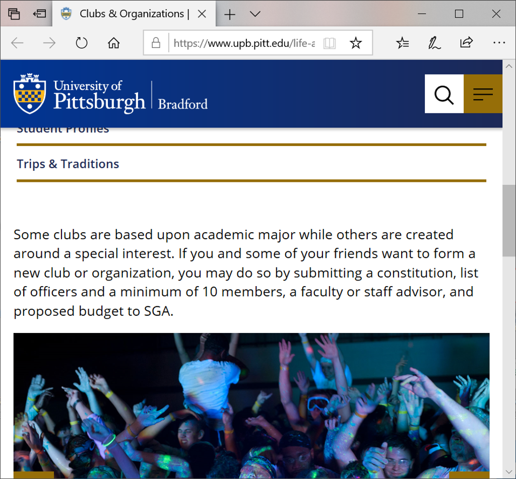 Screenshot of Bradford Clubs and Organizations page with a picture of students at a party