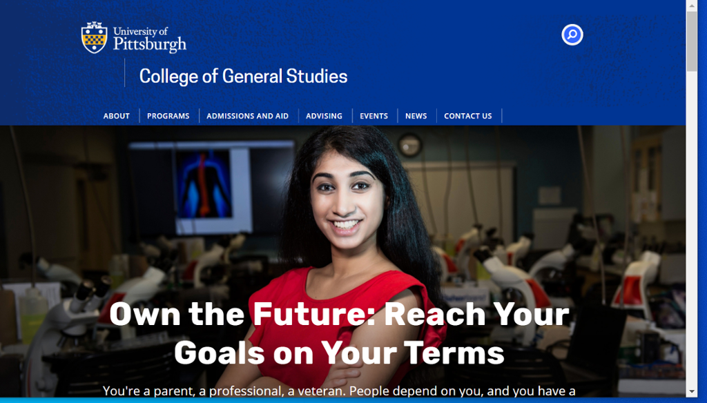 Image of information on the College of General Studies