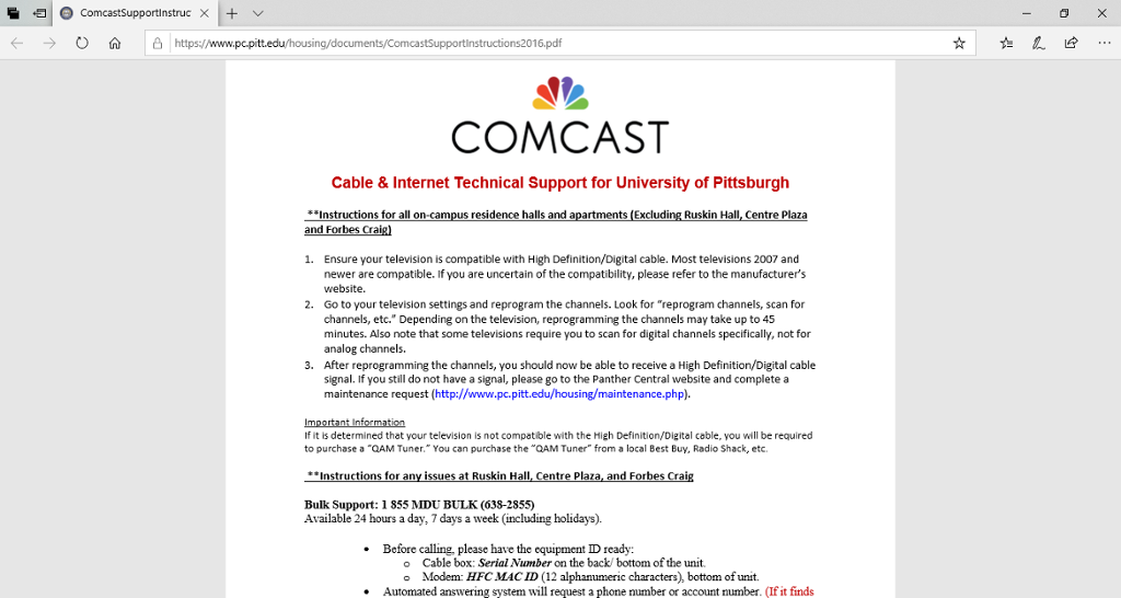 Screenshot of Comcast Cable and Internet Technical Support document for applicable residents.